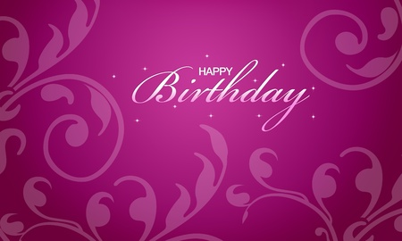 Pink happy birthday card with floral elements.