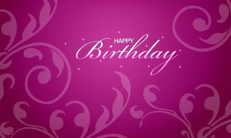 Rosa carta di buon compleanno con elementi floreali. Archivio Fotografico - 10487227