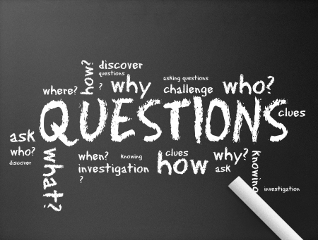 asking: illustration of questions on a dark chalkboard.