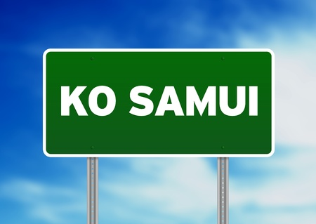 Samui: Green Ko Samui, Thailand road sign on Cloud Background.  Stock Photo