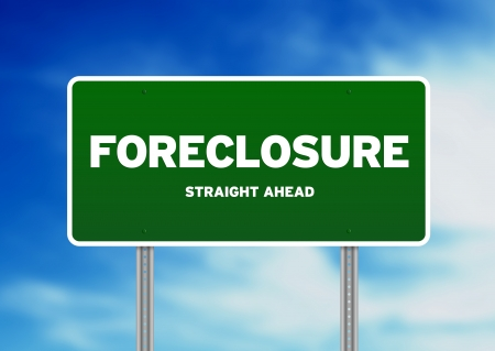 foreclosure: Green Foreclosure road sign on Cloud Background.
