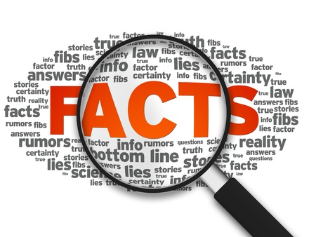 facts: Magnified illustration with the word Facts on white background. Stock Photo