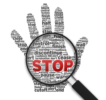 pause: Magnified illustration with a hand and the word stop on white background. Stock Photo