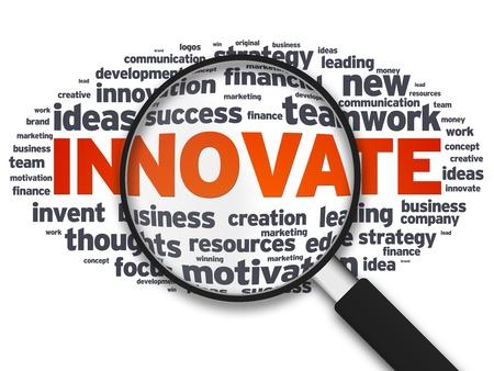 innoveren: Vergroot illustratie met het woord innoveren op een witte achtergrond.