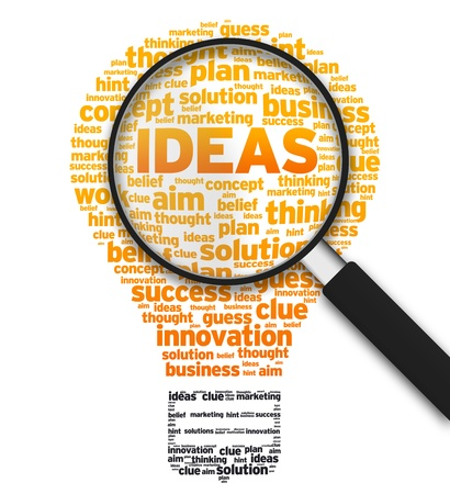 innovation word: Magnified illustration with a light bulb and the word ideas on white background.
