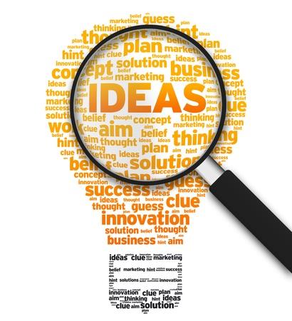 Vergrote illustratie met een gloeilamp en het woord ideeën op een witte achtergrond. Stockfoto