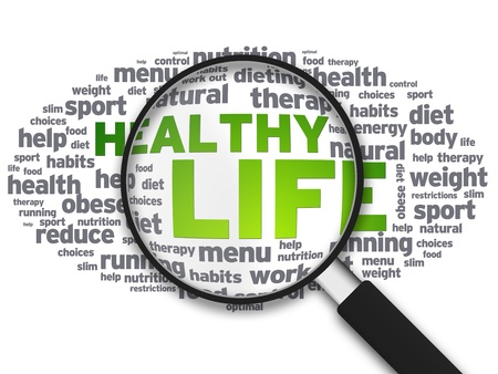 low fat diet: Magnified illustration with the words Healthy Life on white background.