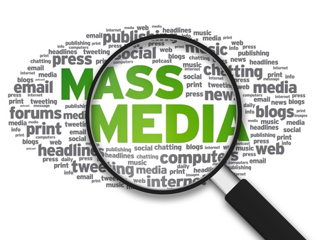 press media: Magnified illustration with the words Mass Media on white background.