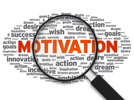 job searching: Magnified illustration with the word Motivation on white background.