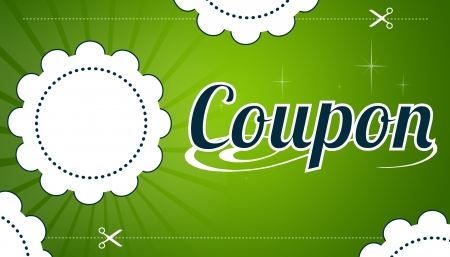 High resolution promotional coupon on green background.