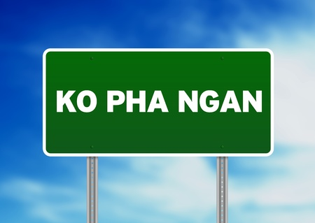 Green Ko Pha Ngan, Thailand road sign on Cloud Background.  Stock Photo