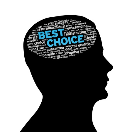 exceptional: Silhouette head with best choice cloud on white background.