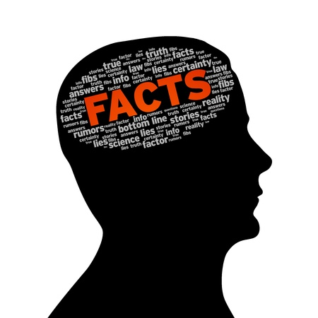 authenticity: Silhouette head with the word facts on white background.