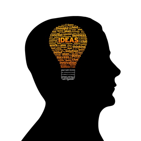 new ideas: Silhouette head with ideas light bulb on white background. Stock Photo