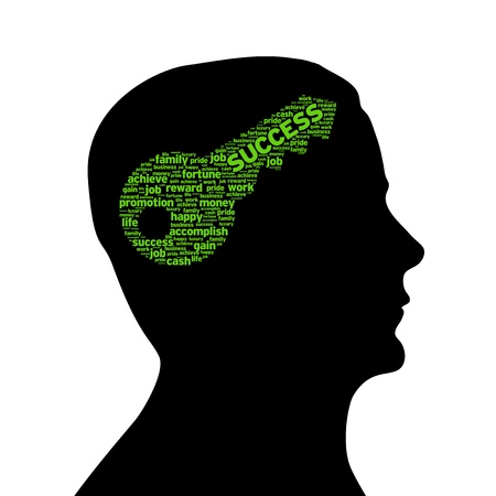 Silhouette head with a Key to success illustration on white background. illustration