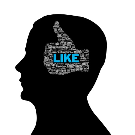 Silhouette head with like thumbs up illustration on white background. illustration