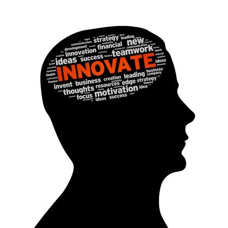 Silhouette testa con la parola innovare su sfondo bianco.
