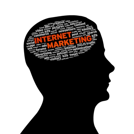 creativeness: Silhouette head with the words Internet Marketing on white background. Stock Photo