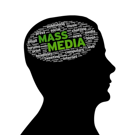 print media: Silhouette head with the words Mass Media on white background. Stock Photo