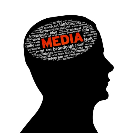 Silhouette head with the word media on white background. photo
