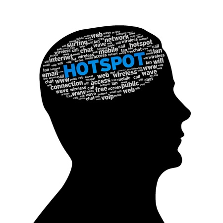 tweet balloon: Silhouette head with an Hotspot word cloud on white background. Stock Photo