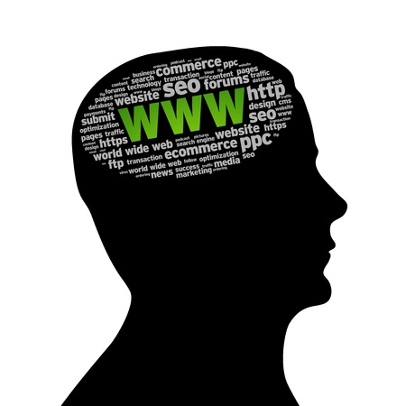 Silhouette head with an WWW word cloud on white background. photo