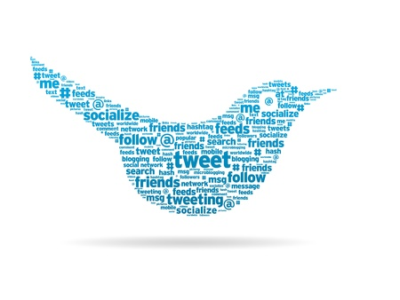 Word illustration of a social media tweeting bird.  Stock Photo