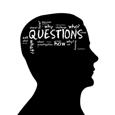 questions: Silhouette head with the word questions on white background. Stock Photo