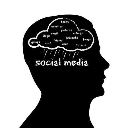 tweeting: Silhouette head with a Social Media cloud on white background.