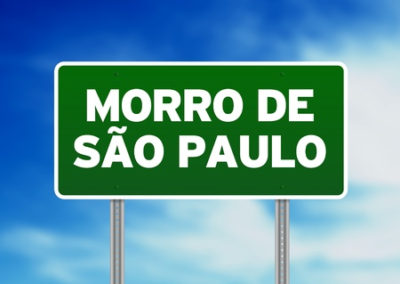 Green Morro de Sao Paulo, Brazil highway sign on Cloud Background.  photo