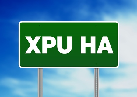Green Xpu Ha, Mexico highway sign on Cloud Background. Stock Photo - 10554513