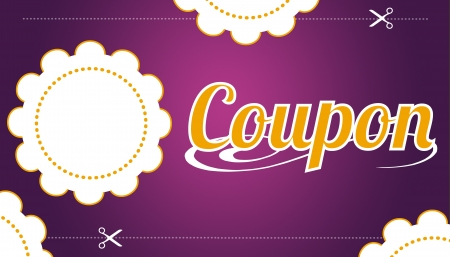 discounts: High resolution promotional coupon on purple background. Stock Photo
