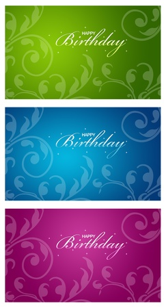 blue green background: A series of colorful birthday cards with floral elements.