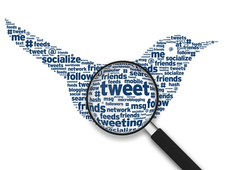 tweet: Magnifying glass with a Tweeting Bird word cloud on white background. Stock Photo