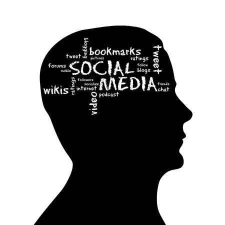Silhouette head with social media cloud on white background. photo