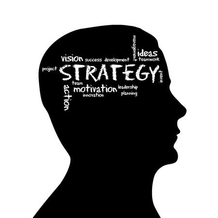 estrategia: Cabeza de silueta con la palabra estrategia sobre fondo blanco.