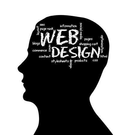 seo: Silhouette kop met het woord Web Design op een witte achtergrond.