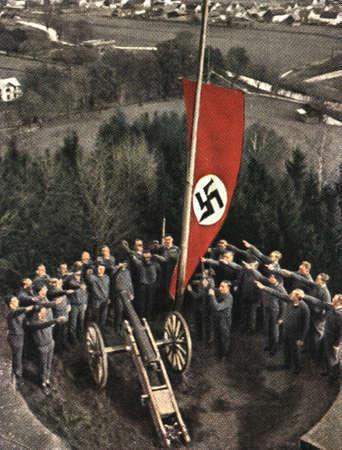 nazi flag: CIRCA 1933: Rare German vintage cigarette card from the 1933 Der Staat der Arbeit und des Friedens album, Part 2, Picture 142.