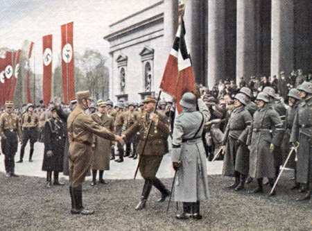 adolf hitler: CIRCA 1933: Rare German vintage cigarette card from the 1933 Der Staat der Arbeit und des Friedens album, Part 2, Picture 266.