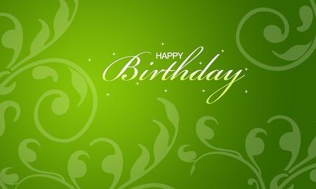 Carta verde buon compleanno con elementi floreali. Archivio Fotografico - 10594847