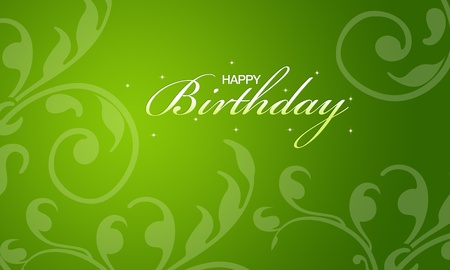 Green happy birthday card with floral elements.