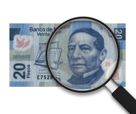 bankroll: Magnifying Glass with 20 Pesos Note on white background