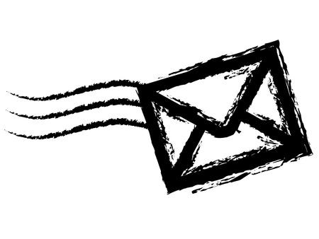 Krijttekening van een envelop op witte achtergrond.