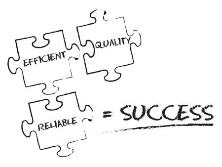 trustworthy: Success Puzzle chalk illustration on white background. Illustration