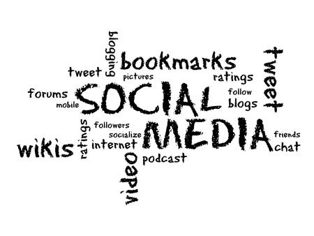 communicatie: Sociale Media krijt tekening illustratie op witte achtergrond