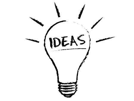 new ideas: Idea Light Bulb chalk illustration on white background.