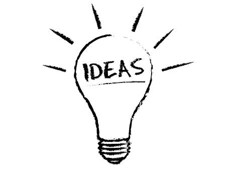 bombilla: Ilustraci�n de tiza de bombilla de idea sobre fondo blanco.