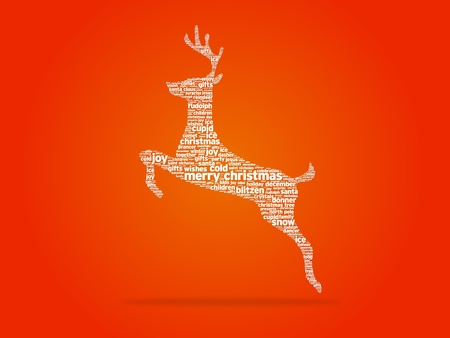 Christmas reindeer illustration on white background. Stock Photo