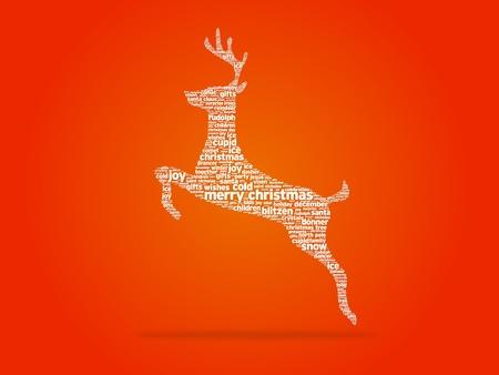 greeting christmas: Christmas reindeer illustration on white background. Stock Photo