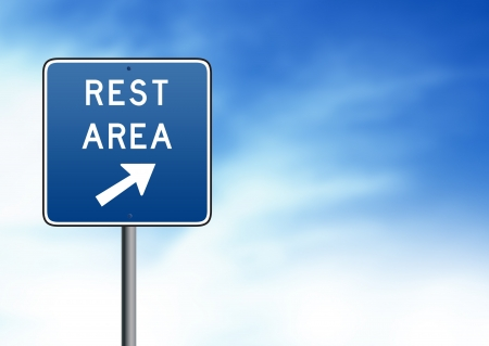 rest: Blue Rest Area Road Sign on white background.